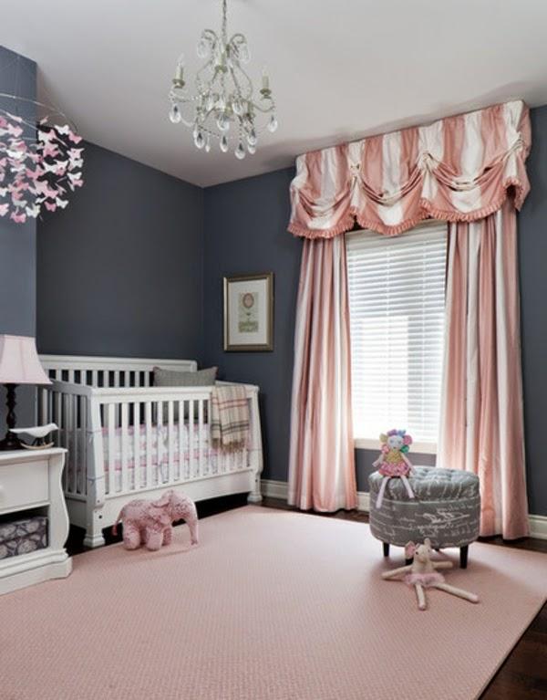 foto cuarto bebé gris rosa
