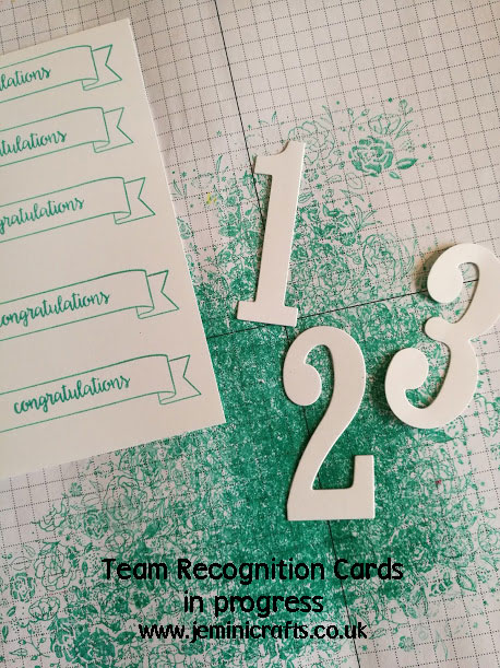 In progress - team recognition cards featuring Wood Words and Number of Years jeminicrafts.co.uk
