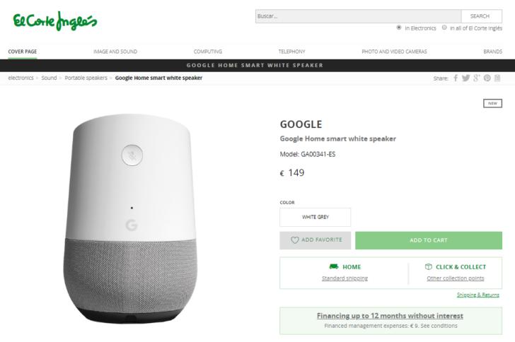 cca0ab8a3f2 Google Home e WiFi a caminho do El Corte Inglés