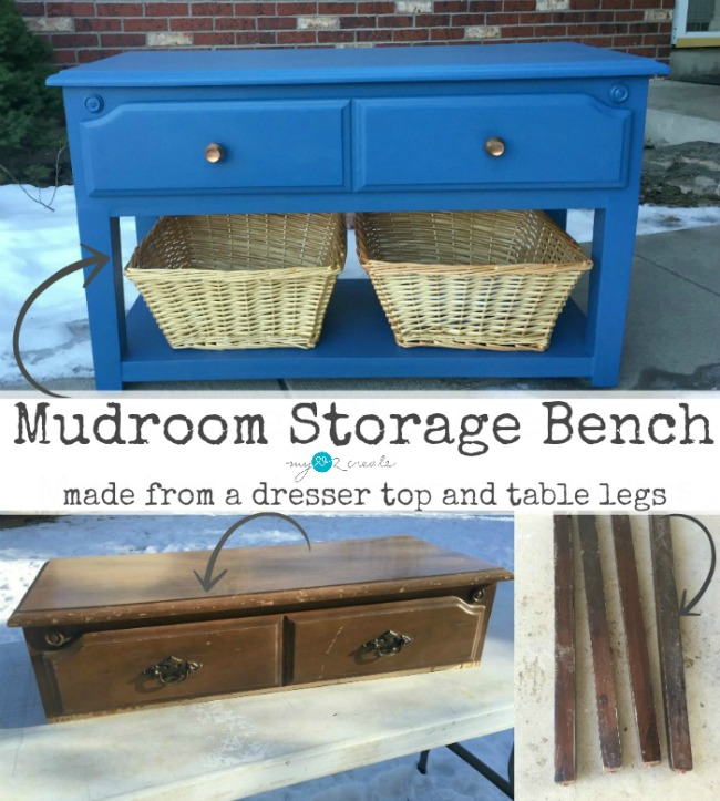 DIY Mudroom Storage Bench made from a dresser top and table legs tutorial at MyLove2Create