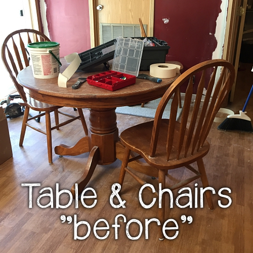 "table and chairs ""before"" makeover"