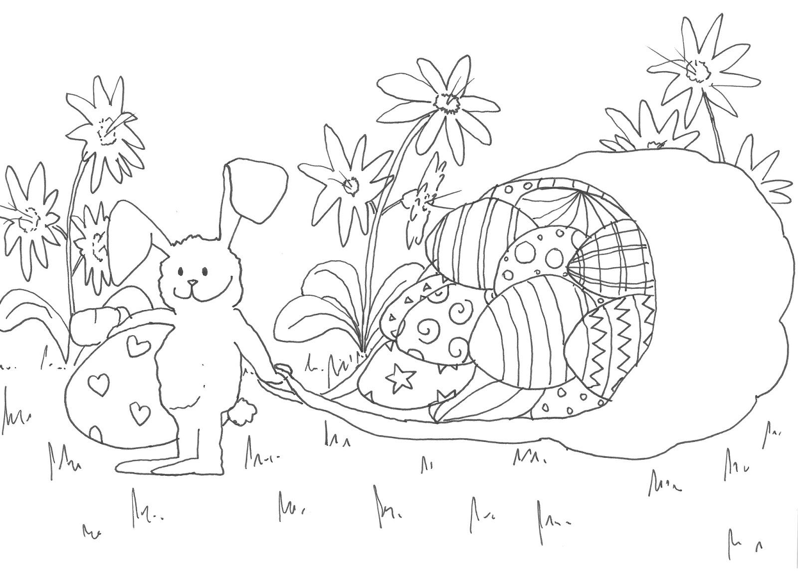 Dibujo para colorear de huevos de Pascua