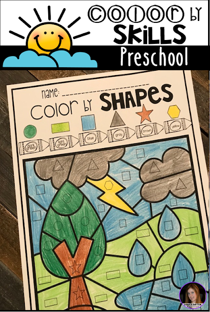 The boys and girls will continue to work on shape identification with Color by Shapes.