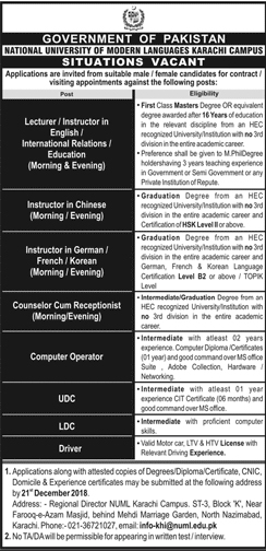 National University of Modern Languages NUML Jobs December 2018