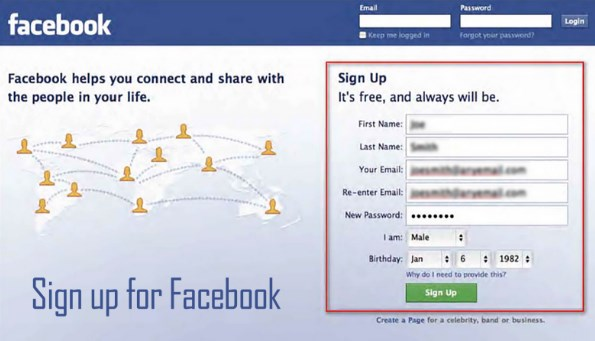 Facebook sign up login new account