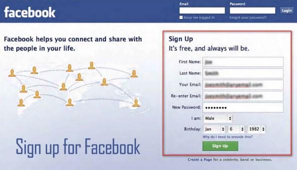 Facebook sign up login new account