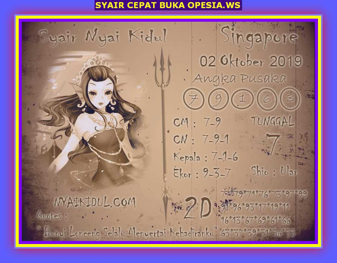 Kode Syair Singapore 2 Oktober 2019 Forum Syair Togel