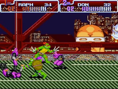 Il primo livello di ''Turtles in time'' per Super Nintendo