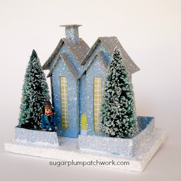 Blur glitter house with trees