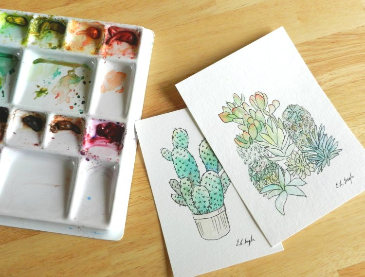 Cactus and Succulents Illustration, Original Watercolor Painting by Elise Engh