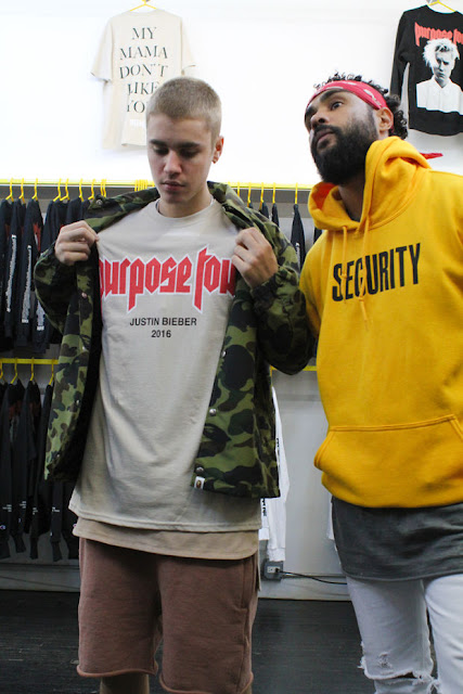 Justin Bieber and Jerry Lorenzo inside the pop-up shop. Photo: VFiles