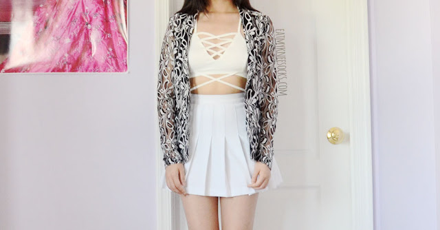 Details on the semi-sheer floral lace blazer jacket from Allegra-K, modeled with a white pleated American Apparel tennis skirt and lace-up halter crop top.