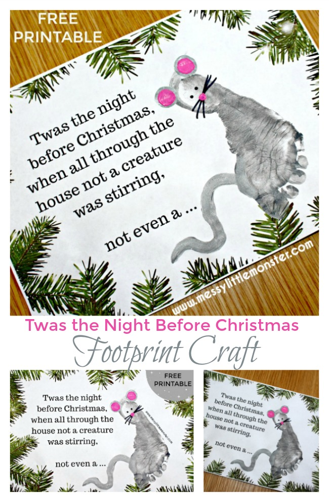 Footprint Christmas cards for kids. 'Twas the Night Before Christmas printable poem and footprint mouse craft. Easy Christmas crafts for kids.
