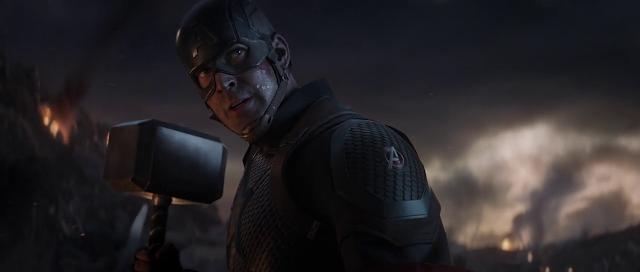 Avengers Endgame Captain America lifted thor hammer