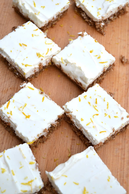 low sugar lemon bars made with zero % fat yoghurt, coconut oil, coconut sugar and stevia sweetener and real lemon juice and zest