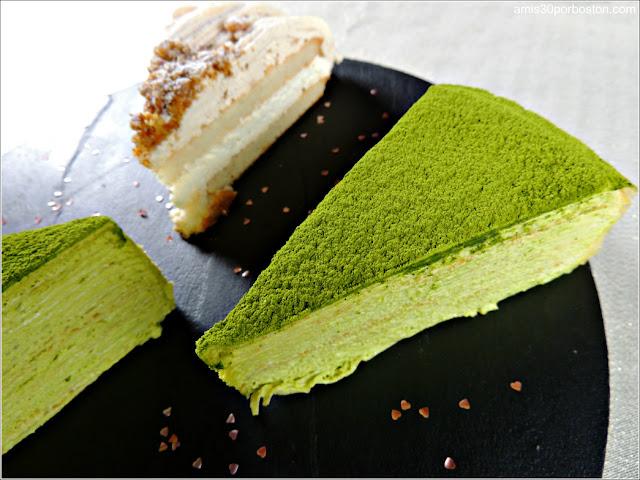 Postre Cena San Valentín: Green Tea Mille Crêpes & Gâteau aux Marrons