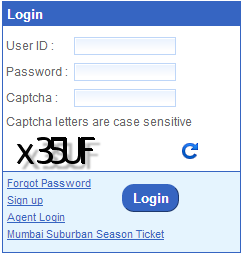New IRCTC Login Form