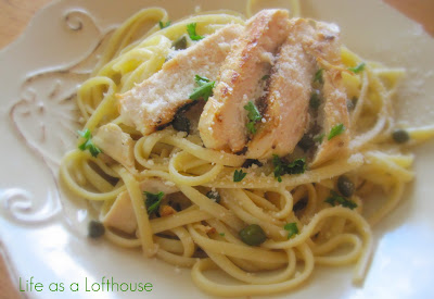 Chicken Piccata Pasta is flavorful lemon garlic marinated chicken breasts laid over a bed of Linguine pasta with capers. Life-in-the-Lofthouse.com