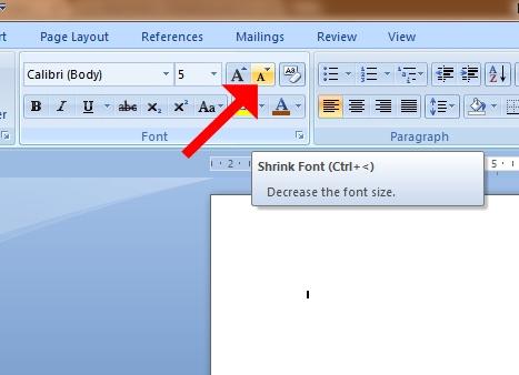 Cara Memperkecil Ukuran Huruf dengan Tombol Shrink Font dan/atau Gunakan Fungsi Ctrl+< atau Ctrl+Shift+<