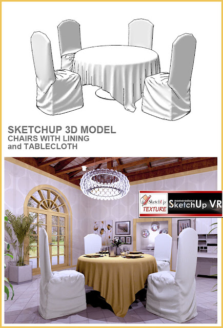 sketchup model-  dinnig room-chairs with linen and tablecloth
