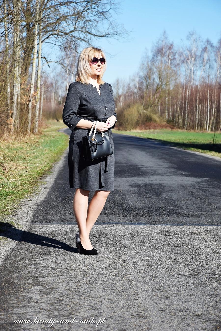 fb89571373 Grace Karin Vintage - ciemno szara sukienka.