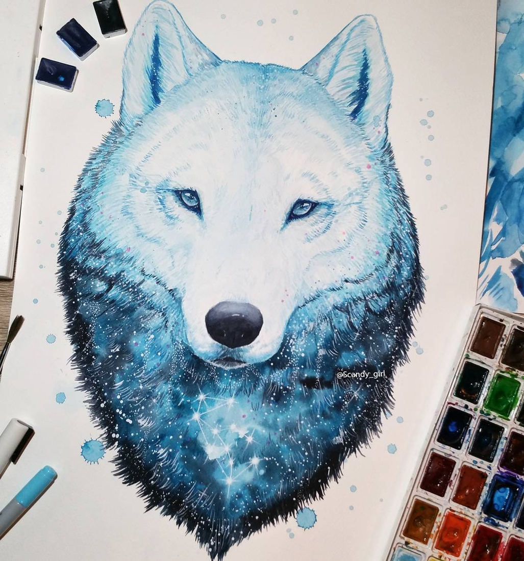 11-Ice-wolf-Jonna-Lamminaho-Mixed-Media-Animal-Paintings-www-designstack-co