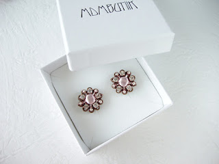 pink earrings, crystal jewelry, crystal earrings, gift boxed, romantic jewelry, vintage style, mdmButiik