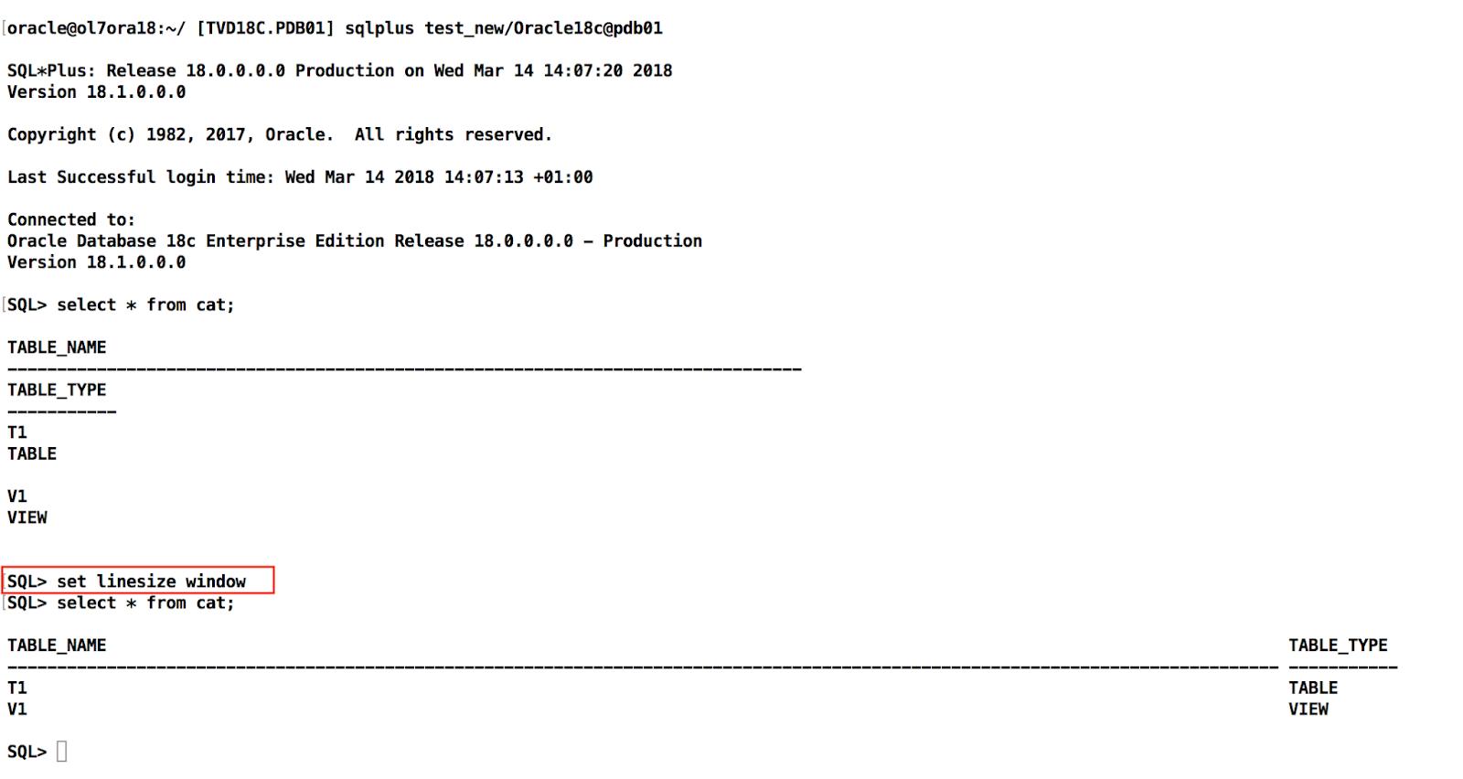 Oracle 18c - SQLPlus cute Features ~ Dirk Nachbar: Oracle