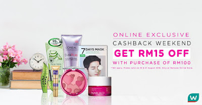 Watsons Malaysia Online Store RM15 Cashback RM100 Minimum Spend