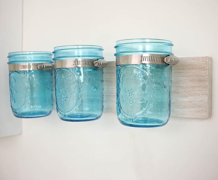 Coastal Mason Jar Organizer DIY by Gina Michele