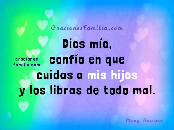 imagen con oración del cuidado de Dios sobre mis hijos