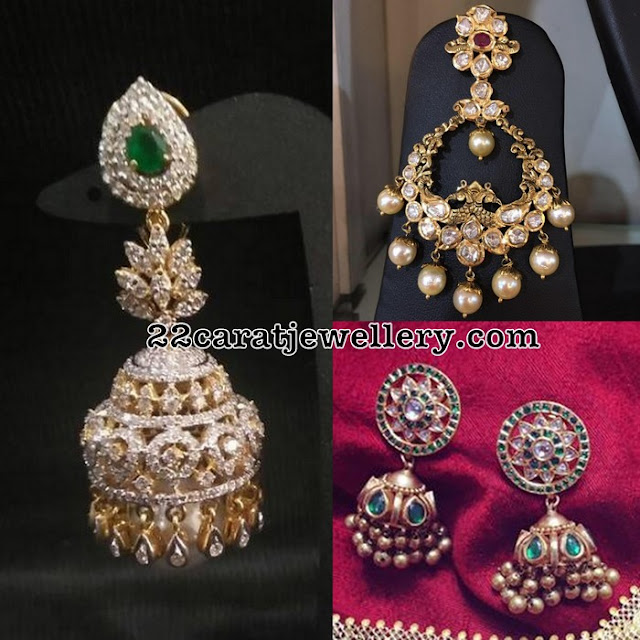 Jhumkas and Chandbalis with Diamonds