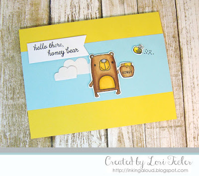 Hello There, Honey Bear card-designed by Lori Tecler/Inking Aloud-stamps and dies from Reverse Confetti