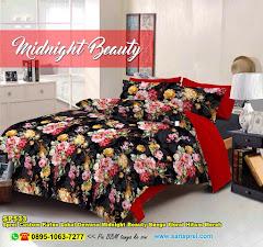 Sprei Custom Katun Lokal Dewasa Midnight Beauty Bunga Floral Hitam Merah