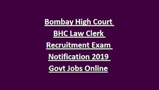 Bombay High Court BHC Law Clerk Recruitment Exam Notification 2019 Govt Jobs Online