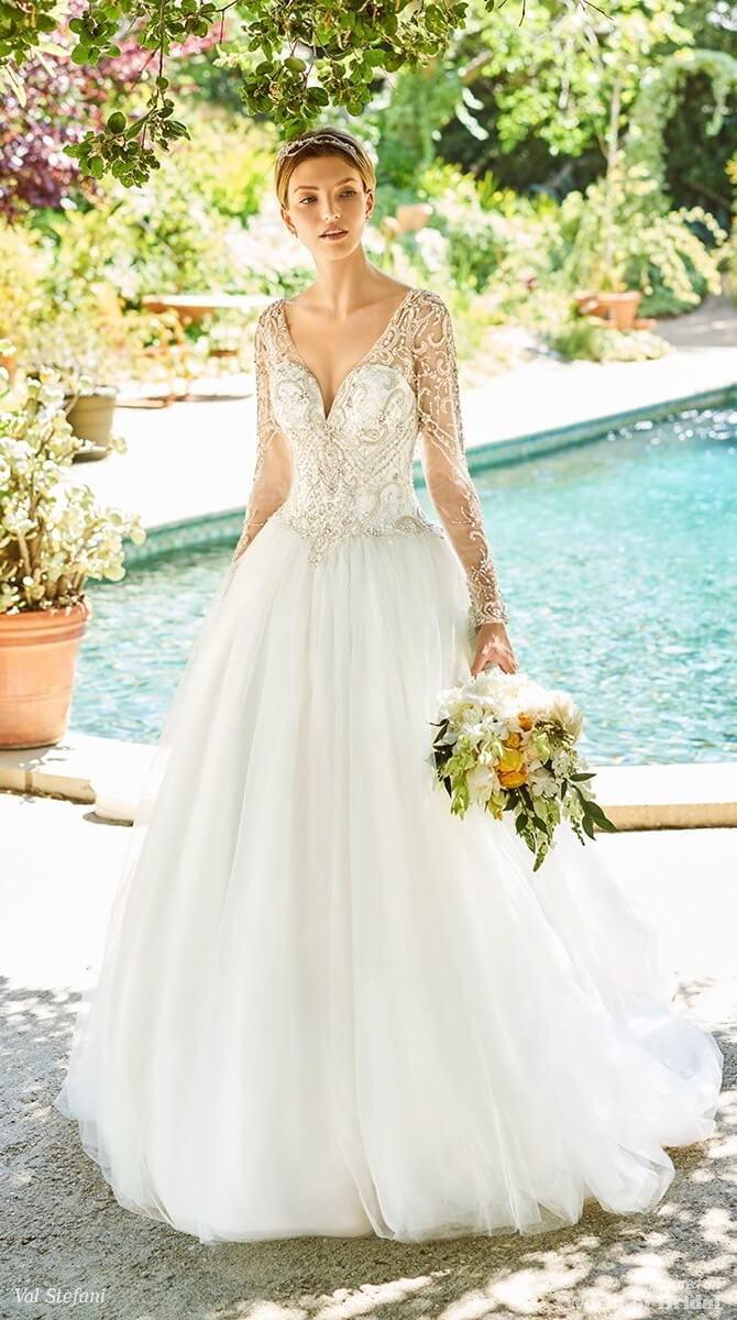 Val Stefani Spring 2018 Beaded Long Sleeve Bridal Gown