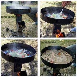Estufa Rocket con olla cocina incorporada