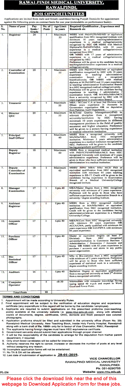 Rawalpindi Medical University jobs 2019