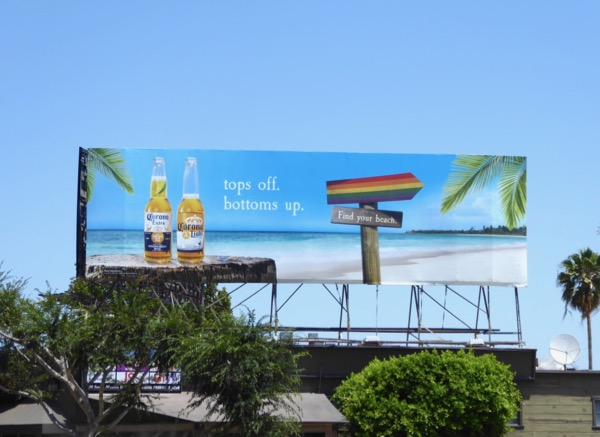 Tops off Bottoms up Corona LGBT billboard
