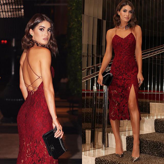 Vestido Vermelho Carmim com Fenda
