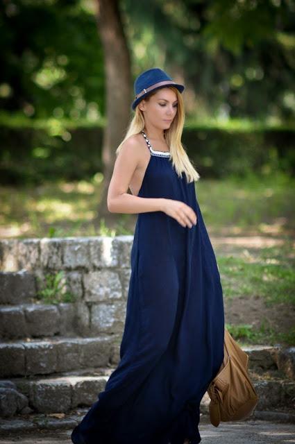 ef802b3c42cbb Simona Mar: Maxi summer dress. Navy blue & brown.
