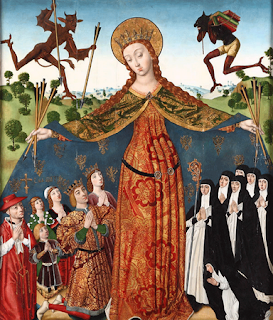 Diego de la Cruz: Virgin of Mercy (c. 1485). Titivillus appears to the right of the image