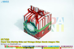 Paper Box Shabby Chic And Vintage Stripe Merah Dengan Pita