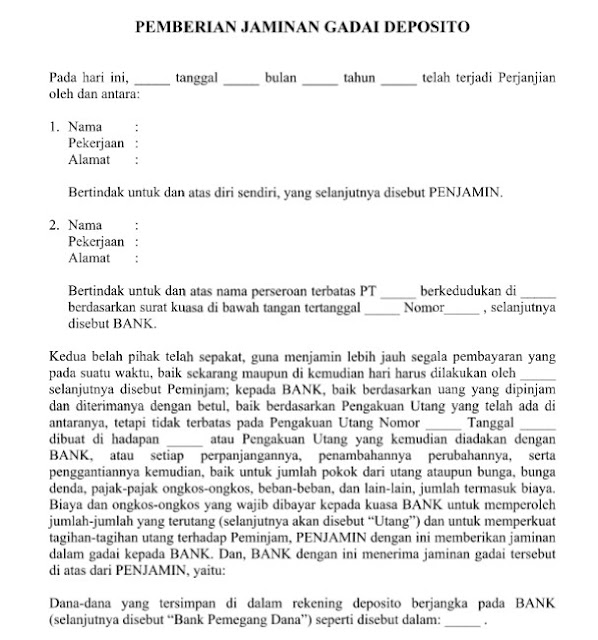 Contoh Surat Perjanjian Pemberian Jaminan Gadai Deposito yang Resmi Format Word