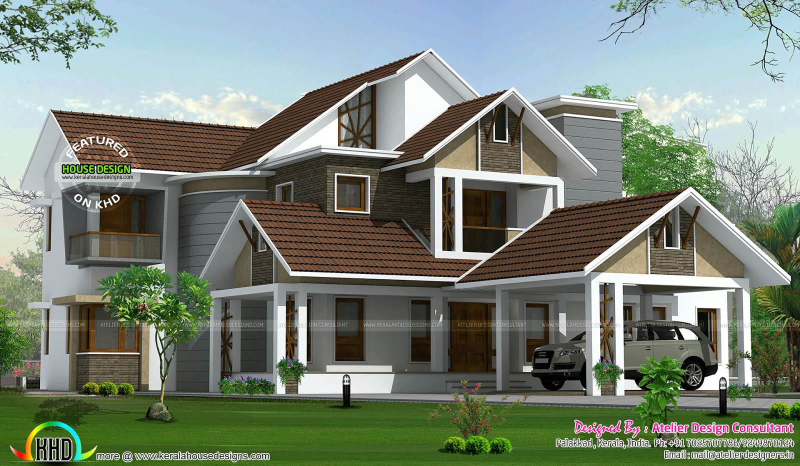Beautiful slope roof home kerala home design and floor plans for Slope home design