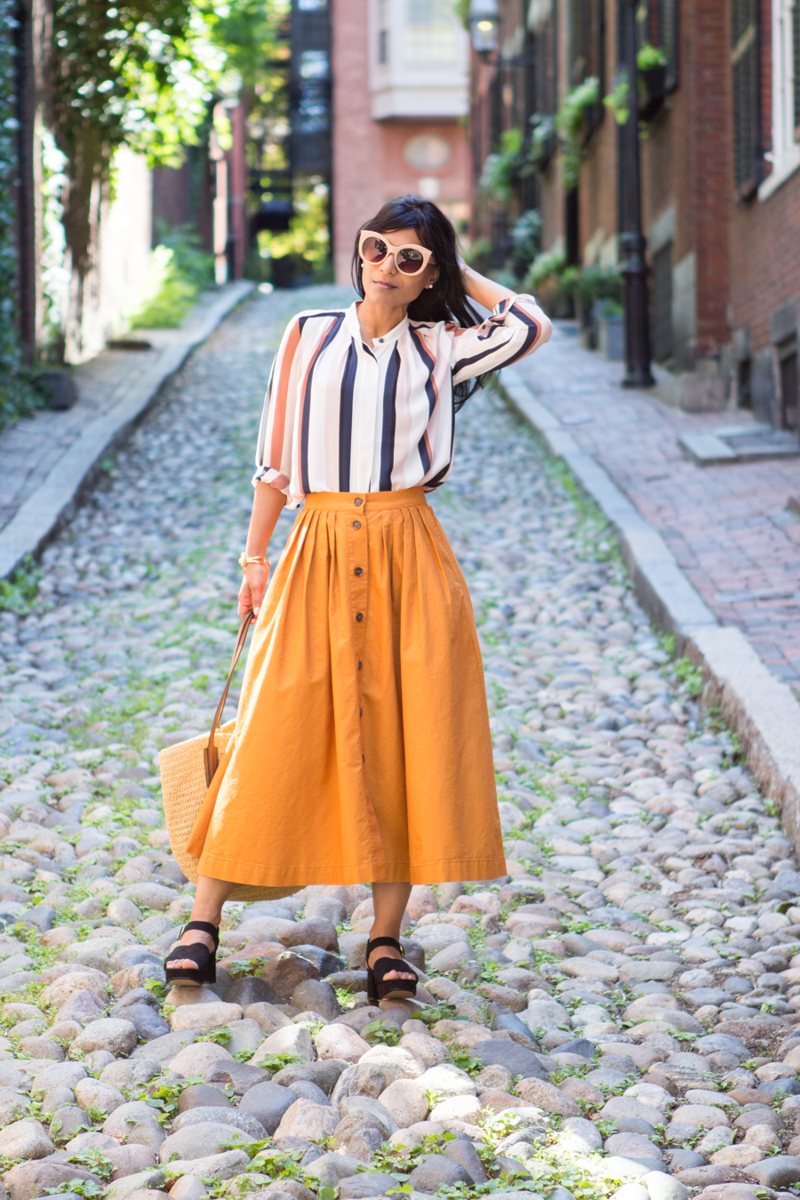 beacon hill, boston, mustard, midi, 70s style, chunky heel, city sandal, ann taylor, h&m, bloglovinHMAawards16, lookbook, petite fashion, over40style