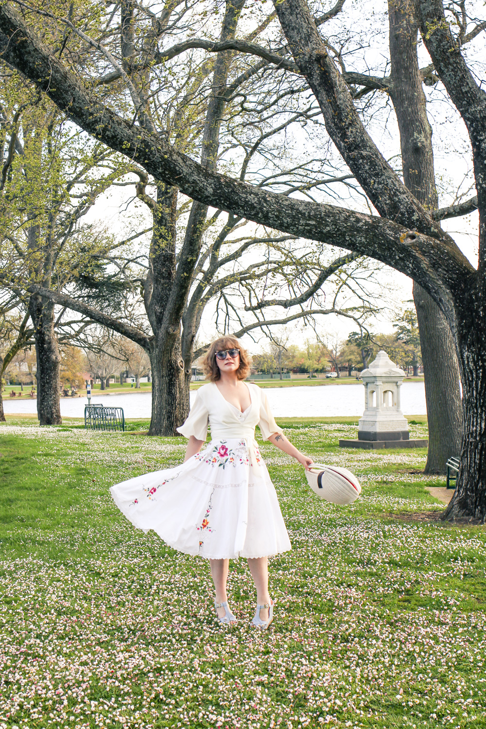 Liana of @findingfemme in a white dress for Frocktober