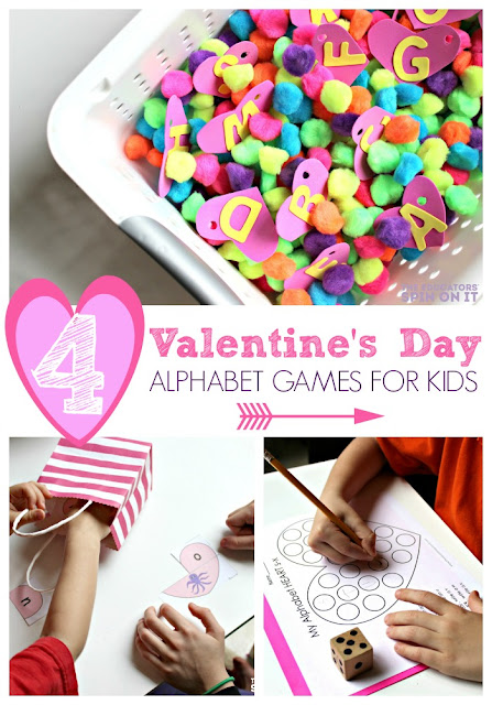 Play and learn your alphabet with hearts this Valentine's Day. Fun games for kids to play to help  master their ABC's