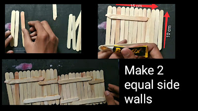 How to make house with Popsicle sticks, step by step tutorial, how to make house with ice cream sticks, art and crafts, diy, Popsicle sticks art