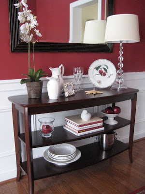 Console Table in Red dining room